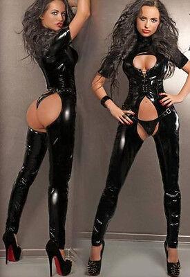 Leather Gothic Catsuit PVC Clubwear Costume Bodysuit Jumpsuit Plus Size S-2XL](Catsuit Costumes)