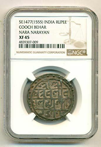 India Cooch Behar SE1477 (AD 1555) Silver Rupee Nara Narayan XF45 NGC
