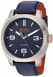 Hugo Boss Men's Cape Town Blue Leather Strap Watch 1513410