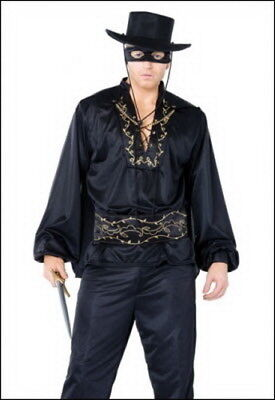 Spanish Hero Costume Men's Zorro Look Black 4 Pc Shirt Belt Cape & Eye Mask (Heros Costumes)