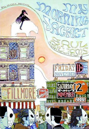 My Morning Jacket Saul Williams Fillmore SF 2005 Concert Poster F728 Manny Silva
