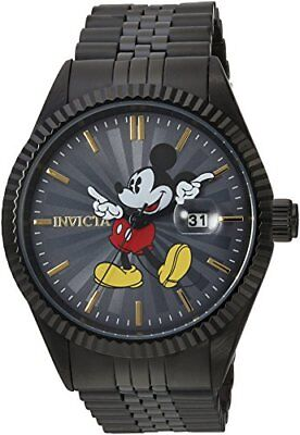 Mickey Mouse Men's Watch Stainless Steel Black Casual Wristwatch Invicta Quartz