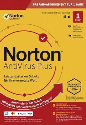 Symantec NORTON AntiVirus Plus 2020 1 Gerät 1 Jahr 1 PC 2019 DE