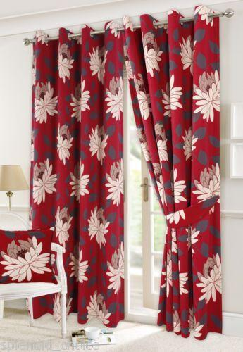 Red Floral Curtains Ebay