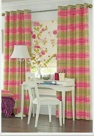 """Next Lucia stripe pink and green eyelet curtains 53""""x72"""" or in cm 135cm x 183cm"""