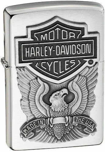 Genuine Zippo Lighter Harley Davidson Brushed Chrome Iron Eagle Emblem New w Box