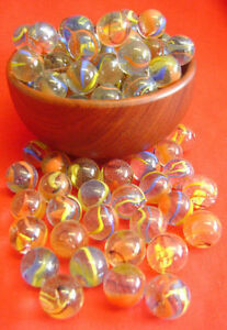 NEW-50-TWISTED-FIESTA-SWIRL-16mm-GLASS-MARBLES-TRADITIONAL-GAME-or-COLLECTORS