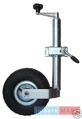 48mm Maypole Caravan Pneumatic Jockey Wheel with Steel Wheel and Split Clamp