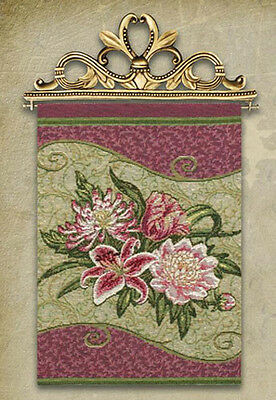 Stately Floral Cluster Tapestry Bannerette Wall Hanging w/Gold Topper Gold Floral Tapestry