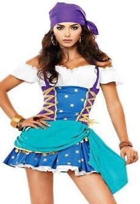 Neu Sexy Zigeuner Kostüm Fasching Kleid Gipsy Karneval hellblau 34 36 XS - Zigeuner Kostüm