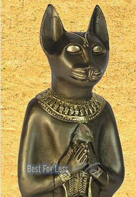 ÄGYPTEN KATZE BASTET GÖTTIN ÄGYPTISCHE FIGUR STATUE SKULPTUR GOTHEIT BRONZE OPTI