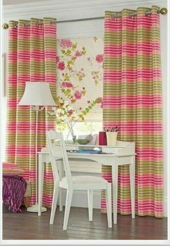 Pair Of Next Lucia Striped Stripe Pink And Green Eyelet Curtains 53 X72 Inch In