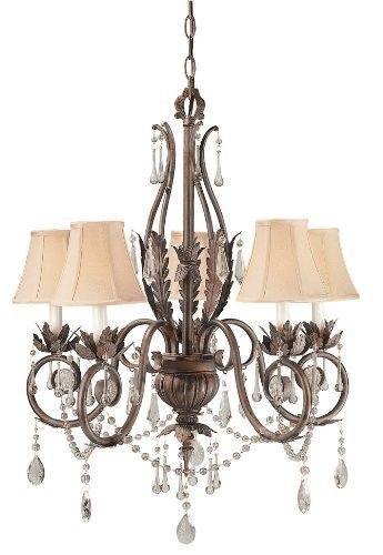 Top 5 bronze chandeliers ebay the 751 62 berkeley square 5 light chandelier is a weathered bronze piece with stamped leaves and dangling crystal accents weighing 22 lbs and measuring aloadofball Gallery