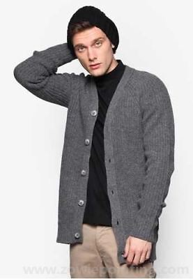 HYMN LONDON - BNWT - Men's Grey Rotten Rib Cardigan - Size Medium - Retail £69