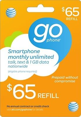 65 00 At T Prepaid Gophone Monthly Refill Card  Fast Digital Delivery  65 Att