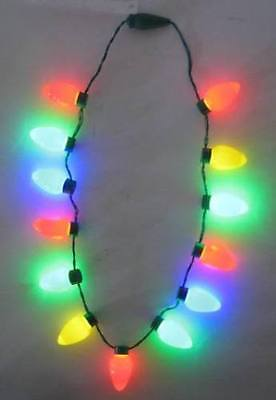 Holiday Christmas Classic Large Bulb LED Novelty Christmas Flashing Necklace  (Flashing Christmas Bulb Necklace)