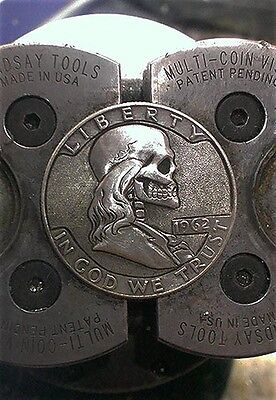 Coalburn classic Hobo Nickel engraved skull  Franklin half Dollar silver  1