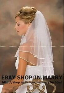 ★★2013 New Wholesale 2T White/Ivory Bridal Wedding Veil Ribbon Edge With Comb ★★