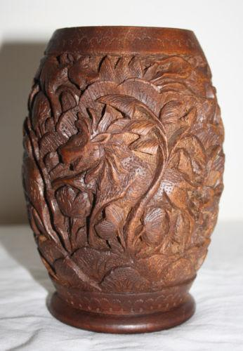 Hand Carved Wood Vase Ebay