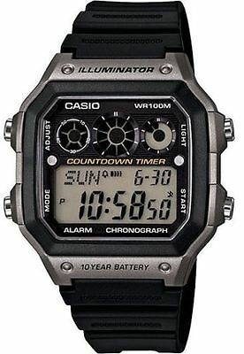 Casio Digital Men's Watch, 100M, Alarm, Referee Timer, Resin, AE1300WH-8AV