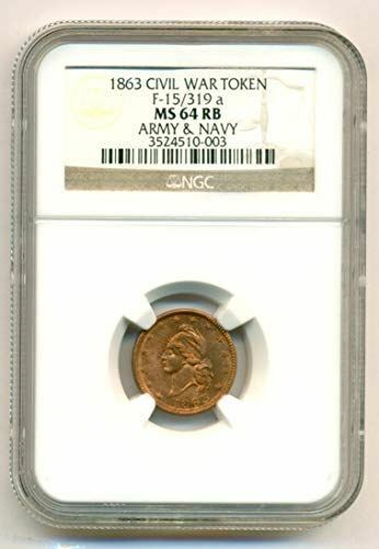 Civil War Patriotic Token 1863 Army & Navy F-15/319a R2 MS64 RB NGC