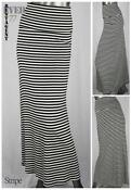 Black and White Striped Long Skirt