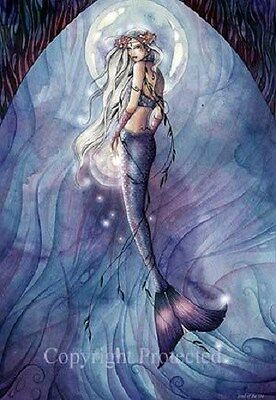 Jessica Galbreth Fantasy Art (Jessica Galbreth Print Jewel of the Sea Mermaid Blue Purple Fantasy Art)