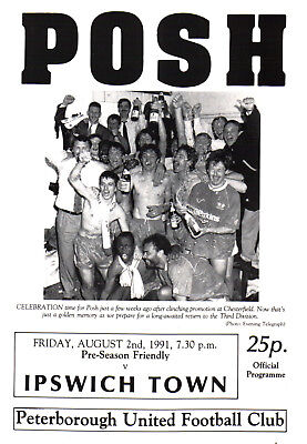 1991/92 Peterborough United v Ipswich Town, Friendly, PERFECT CONDITION