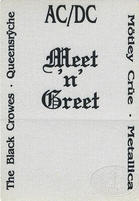 AC/DC Metallica Motley Crue Queensryche 1991 Backstage Pass Donnington