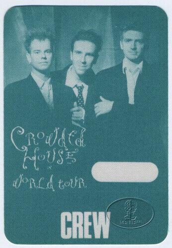CROWDED HOUSE 1988 Backstage Pass Split Enz Neil Finn Crew Green