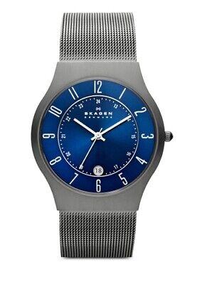 Skagen 233XLTTN Slim Titanium Steel Mesh Blue Dial 37mm Men's Watch Mesh Titanium Wrist Watch