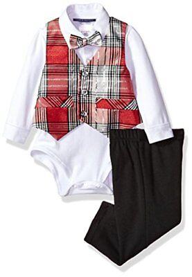 NWT Bonnie Baby Boys Plaid Vest Bow Tie Bodysuit Pants Christmas Outfit Set