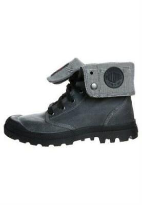 NIB by PALLADIUM Baggy Leather Men's Fold Over Dark Grey/Tango Red Ankle Boots