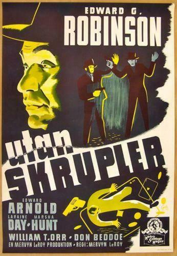 CUT $70! UNHOLY PARTNERS 1943 SWEDISH 1 SHEET - COOL EDWARD G. ROBINSON ART!!!