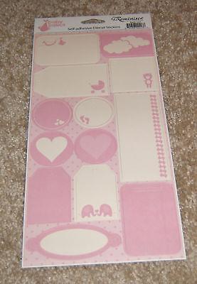 Reminisce Die Cut Sticker Sheet ~ Baby Basics Baby Girl Pink Assorted Tags Die Cut Sticker Sheet