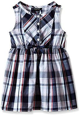 New Nautica Toddler Girl Navy Plaid Dress with Bow Detail 4T