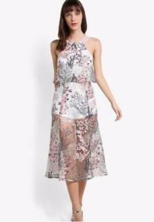 Self Portrait Inspired Dress, Size XS/AU6, White/Multifloral, NEW