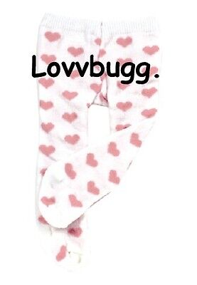 "Lovvbugg Pink Heart Tights for 18"" American Girl Doll n Bitty Baby Doll Clothes"