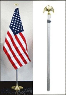 8ft Aluminum Banner Residential Indoor Flag Pole Gold Eagle Base 3x5 USA Sleeve