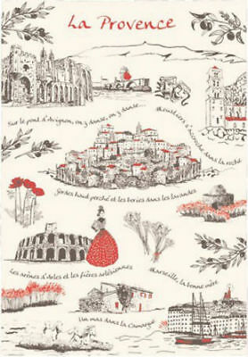 Painted Provence Kitchen - French Kitchen Dish/Tea Towel Provence-Riviera Scenery Cotton Made In France