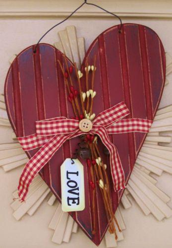 Valentine decorations ebay for Wooden heart wall decor