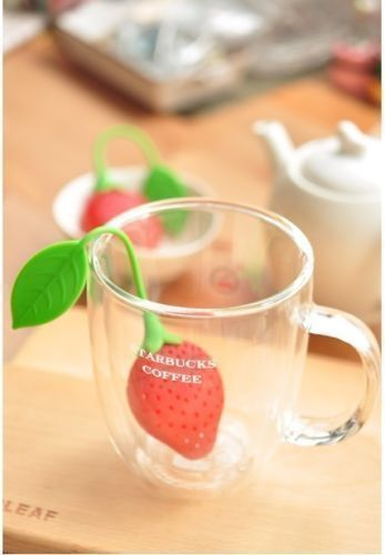 New Silicone Strawberry Loose Tea Leaf Strainer Herbal Spice Infuser Filter JU