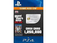GTA V Shark Card $1.25M Online In game cash Playstation PS4