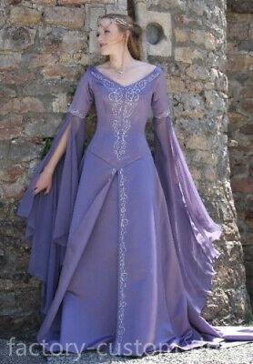 Exllent Medieval Wedding Dress LOTR Renaissance Fantasy Gown Lavender Fairy Gown ()