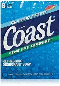 Coast Classic Deodorant Soap 4oz 8 Bars Count Each