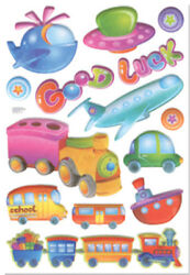 3D PUFFY TRANSPORTATION wall stickers 14 decals sparkle room decor school bus +