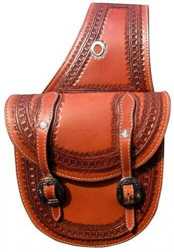 Showman MEDIUM OIL Waffle Tooled Round Bottom Leather Saddle Bag! NEW HORSE TACK