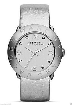 Marc Jacobs Womens Watch Metallic Silver Amy Leather Roller W/Box MBM8626 $150