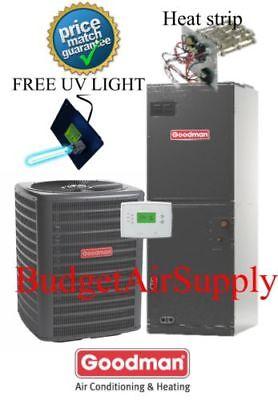 3 ton 14 SEER 410a Goodman A/C System GSX140361+ARUF37C14 Uv+tstat+Heat strip