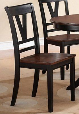 2 Black Dining Chairs - Poundex Dining Side Chairs Cherry Wooden Cut-Out 2-Tone Back Black Set of 2
